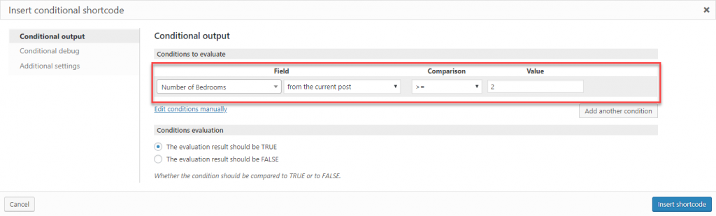 Specify conditions in the GUI fields