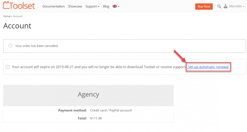 Link to set up automatic renewal
