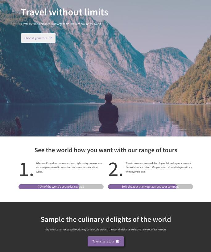 Travel Destinations ist eine Verzeichnisseite, die Urlaubsreisen aufführt