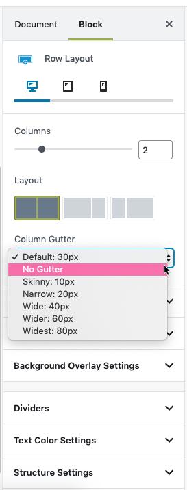 Adjusting the Column Gutter option
