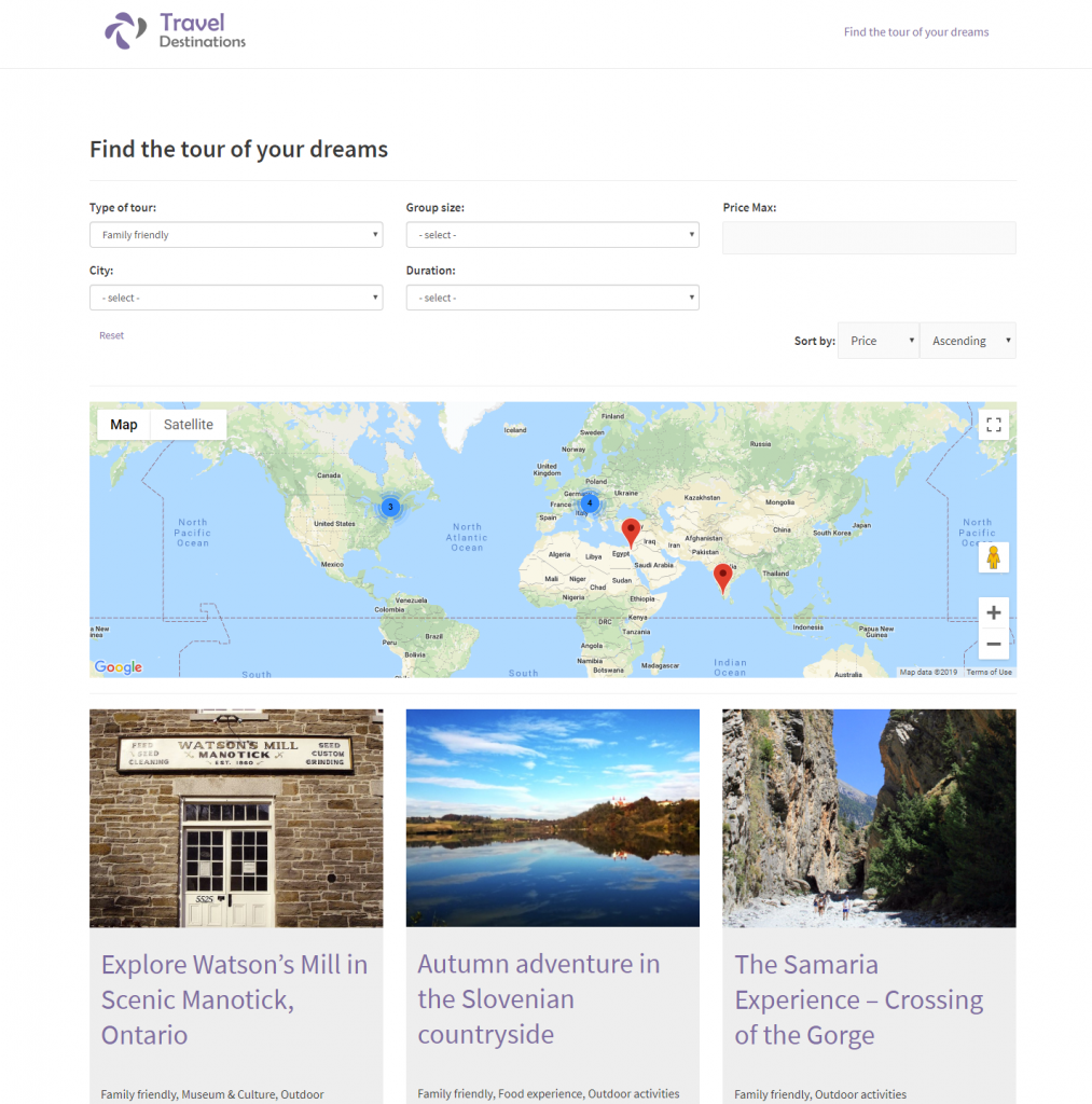 Custom search example with results on a map and as a list of posts
