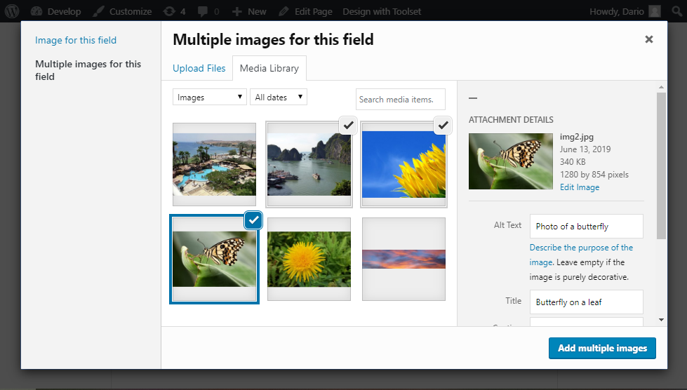 Using the native media manager to upload multiple images and set their metadata