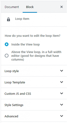You can easily tweak options for the View's Loop Item
