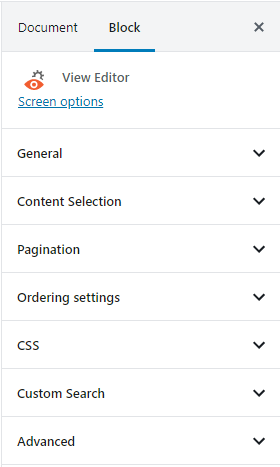 Sidebar options for the Views Editor block's general options