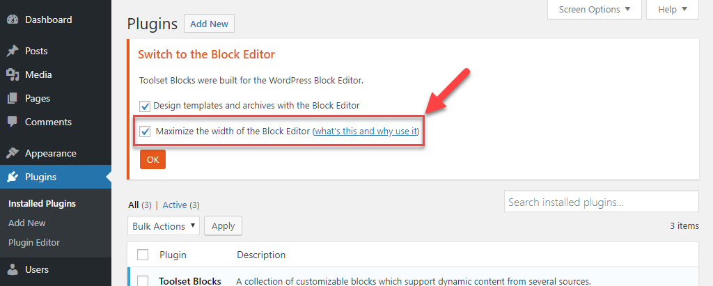 Enable Maximize the width of the Block Editor option
