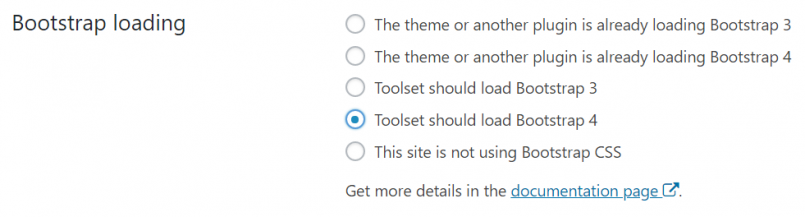 Bootstrap loading options in Toolset settings