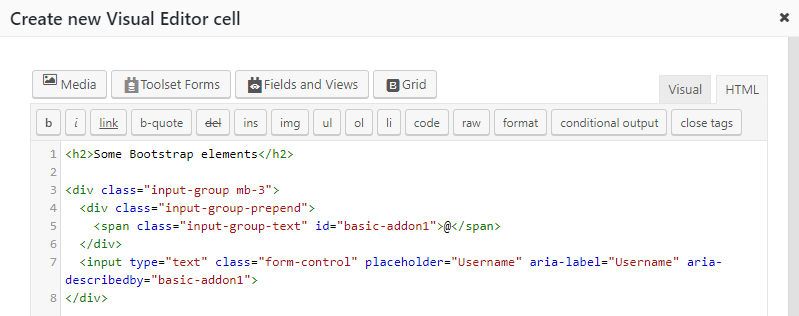 Using Bootstrap CSS Elements in Your Content - Toolset