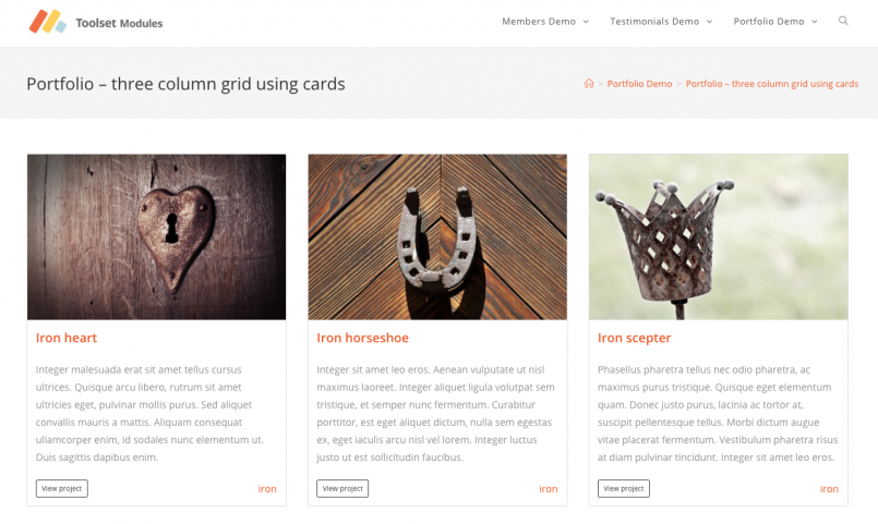 A View listing portfolio items that uses Bootstrap card classes