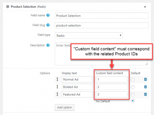 Setting up a custom field with values that correspond to the related Product IDs