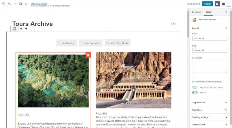 Designing a WordPress Archive using Toolset and the Block Editor