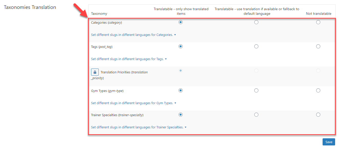 Setting the taxonomies to be translatable