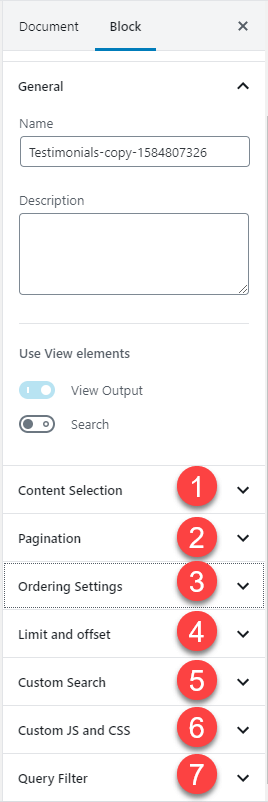 Sidebar settings for View Block