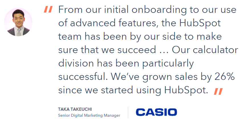 HubSpot testimonials include hard numbers to proof one of their claims