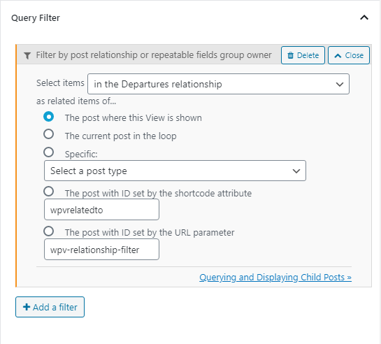 Query Filter settings