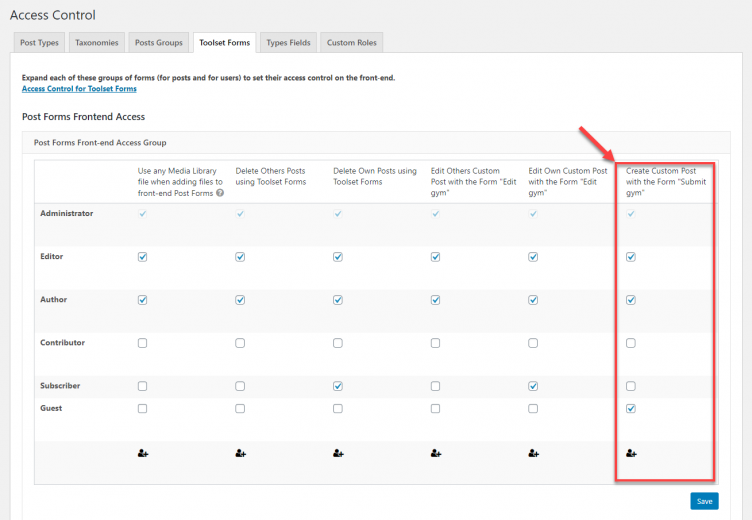 """Access permissions for submitting new """"Gyms"""" posts using a Toolset form"""