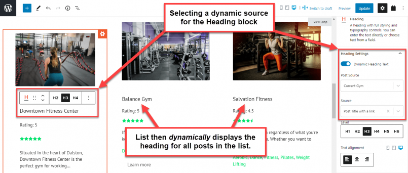 Setting a dynamic source for a heading in a custom list of posts
