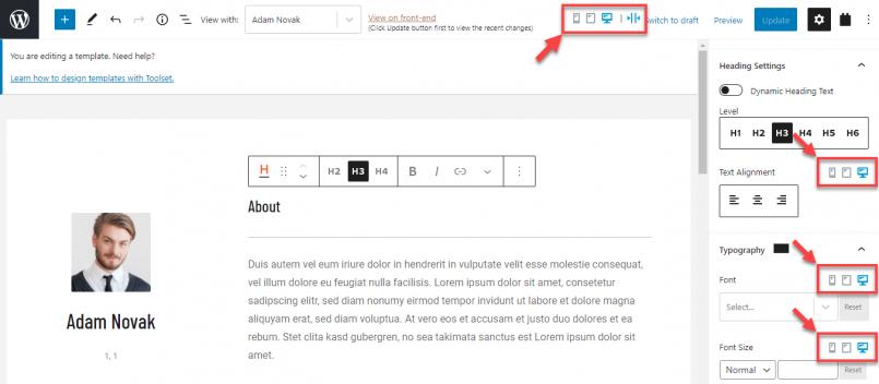 Toolset's responsive design controls in the Block Editor