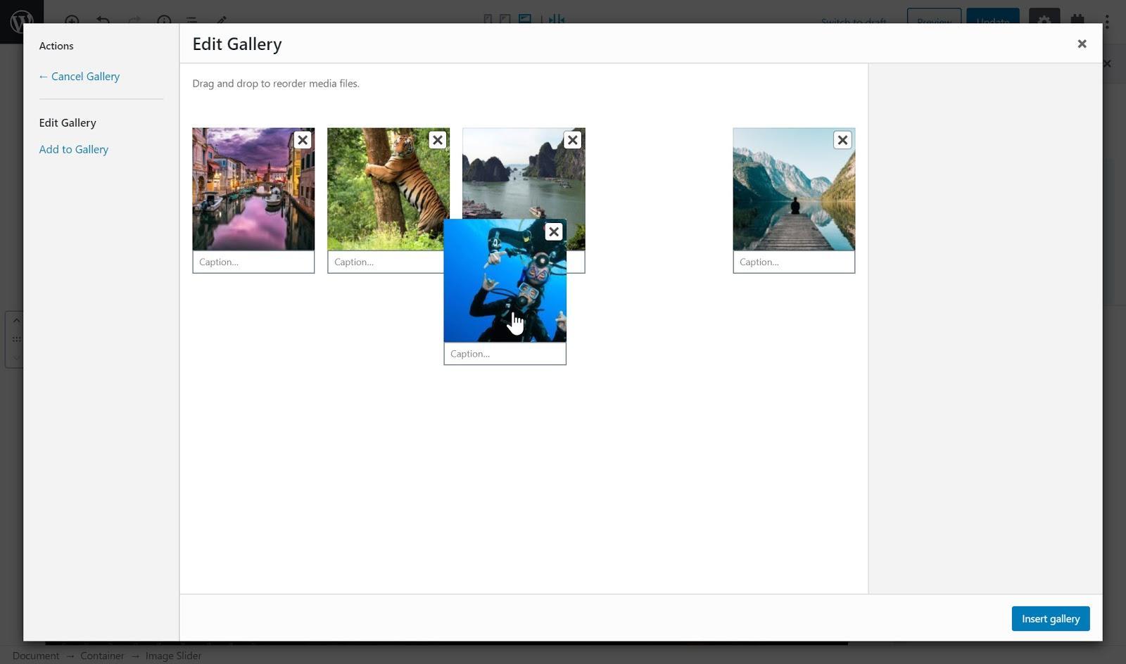 Rearrange the image order of a slider.