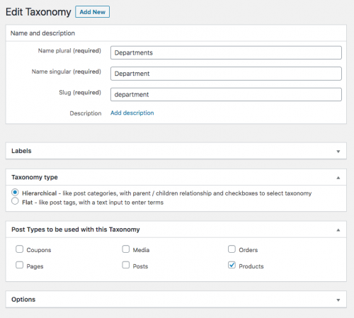 Adding custom taxonomy to WooCommerce Products