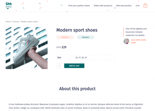 Single Product page designed with Toolset