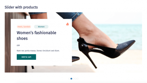 Example of a slider with featured products