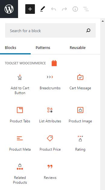 Toolset WooCommerce Blocks section
